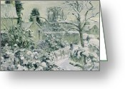 Jardin Painting Greeting Cards - Effect of Snow with Cows at Montfoucault Greeting Card by Camille Pissarro