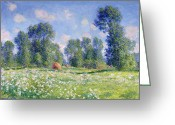 Green Field Painting Greeting Cards - Effect of Spring at Giverny Greeting Card by Claude Monet