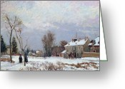 Pisarro Greeting Cards - Effects of Snow Greeting Card by Camille Pissarro