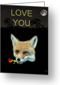 Lesvos Greeting Cards - Eftalou Fox Max with rose LOVE YOU Greeting Card by Eric Kempson