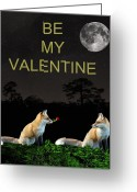 Lesvos Greeting Cards - Eftalou Foxes be my valentine Greeting Card by Eric Kempson