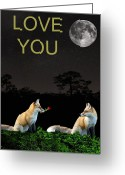 Eftalou Greeting Cards - Eftalou Foxes LOVE YOU Greeting Card by Eric Kempson