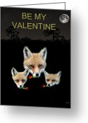 Lesvos Greeting Cards - Eftalou Foxes with roses Be My Valentine Greeting Card by Eric Kempson