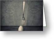 Featured Photo Greeting Cards - Egg and Fork Greeting Card by Ian Barber