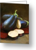 Cooks Illustrated Painting Greeting Cards - Eggplants Greeting Card by Robert Papp