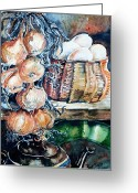 Teapot Greeting Cards - Eggs and Onions in the Larder  Greeting Card by Trudi Doyle