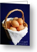 Wicker Basket Greeting Cards - Eggs in a wicker basket. Greeting Card by Gaspar Avila