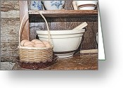Troy Greeting Cards - Eggs in Basket Greeting Card by Michael Peychich