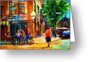 Montreal Summer Scenes Greeting Cards - Eggspectation Cafe On Esplanade Greeting Card by Carole Spandau