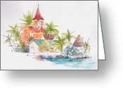 South Seas Greeting Cards - Eglise Evangelique Bora Bora Greeting Card by Pat Katz