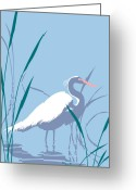 Everglades Greeting Cards - Egret graphic pop art nouveau 80s 1980s stylized retro tropical florida bird print blue gray green Greeting Card by Walt Curlee