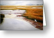 South Carolina Beach Painting Greeting Cards - Egret Haven Greeting Card by Shirley Braithwaite Hunt