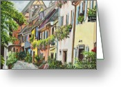 French Landscape Greeting Cards - Eguisheim In Bloom Greeting Card by Charlotte Blanchard