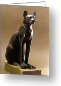Artifact Greeting Cards - Egyptian Bronze Statuette Greeting Card by Granger