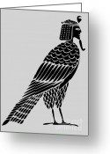 Sacred Digital Art Greeting Cards - Egyptian demon - bird of souls Greeting Card by Michal Boubin