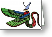 Sacred Digital Art Greeting Cards - Egyptian demon Greeting Card by Michal Boubin