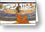 Ancient Tomb Greeting Cards - Egyptian Goddess Maat with Outstretched Wings Greeting Card by Ben  Morales-Correa