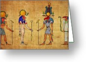 Sacred Digital Art Greeting Cards - Egyptian Gods and Goddness Greeting Card by Michal Boubin