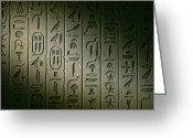 Antiquities And Artifacts Greeting Cards - Egyptian Hieroglyphics Decorate Greeting Card by Kenneth Garrett