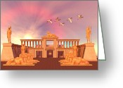 Sacred Digital Art Greeting Cards - Egyptian Kingdom 01 Greeting Card by Corey Ford