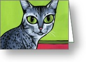 Whiskers Greeting Cards - Egyptian Mau Greeting Card by Leanne Wilkes