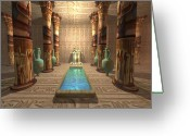 Tutankhamen Greeting Cards - Egyptian Temple Greeting Card by Corey Ford