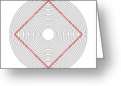 Trick Greeting Cards - Ehrenstein Illusion, Square In Circles Greeting Card by