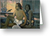 Gauguin; Paul (1848-1903) Greeting Cards - Eiaha Ohipa or Tahitians in a Room Greeting Card by Paul Gauguin