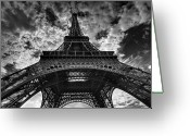Structure Photo Greeting Cards - Eiffel Tower Greeting Card by Allen Parseghian