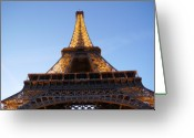 Eiffel Tower Greeting Cards - Eiffel Tower at dusk Greeting Card by Leonard Rosenfield