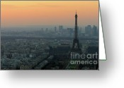 Landmarks Greeting Cards - Eiffel Tower at Dusk Greeting Card by Sebastian Musial