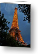 Jsm Greeting Cards - Eiffel tower at Night Greeting Card by John Malone