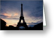 Dusk Greeting Cards - Eiffel Tower At Sunset, Paris, France Greeting Card by Photo by rachel kara