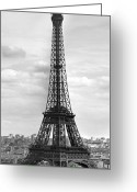 Puddle Photo Greeting Cards - Eiffel Tower BLACK AND WHITE Greeting Card by Melanie Viola