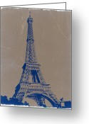 Streets Digital Art Greeting Cards - Eiffel Tower Blue Greeting Card by Irina  March
