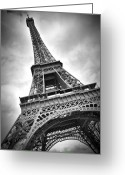 E Black Greeting Cards - Eiffel Tower DYNAMIC Greeting Card by Melanie Viola