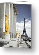 Architecture Tapestries Textiles Greeting Cards - Eiffel tower from Trocadero Greeting Card by Elena Elisseeva