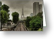 Railroad Track Greeting Cards - Eiffel Tower In Clouds Greeting Card by Stéphanie Benjamin
