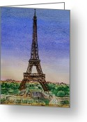 Sketchbook Greeting Cards - Eiffel Tower Paris France Greeting Card by Irina Sztukowski