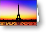 Ile De France Greeting Cards - Eiffel Tower Silhouette In Sunrise Greeting Card by Audun Bakke Andersen