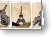 Structures Greeting Cards - Eiffel Tower Greeting Card by Tony Cordoza