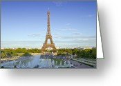 Puddle Photo Greeting Cards - Eiffel Tower with Fontaines Greeting Card by Melanie Viola