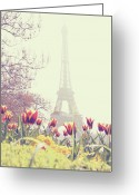 Structure Photo Greeting Cards - Eiffel Tower With Tulips Greeting Card by Gabriela D Costa