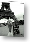 Featured Artwork Prints Greeting Cards - Eiffel with Ice Cream Cone Greeting Card by Kathy Yates