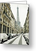 Supply Greeting Cards - Eiffer Tower Under Snow Covered Street Greeting Card by © Yanidel