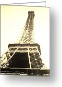 Black And White Photos Mixed Media Greeting Cards - Eiffle Tower Greeting Card by Jamey Balester
