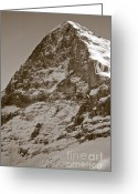 Face Greeting Cards - Eiger North Face Greeting Card by Frank Tschakert