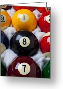 Game Seven Greeting Cards - Eight Ball Greeting Card by Garry Gay