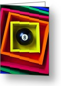 Number Circle Greeting Cards - Eight Ball In Box Greeting Card by Garry Gay