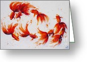 Pond Painting Greeting Cards - Eight dancing goldfish  Greeting Card by Zaira Dzhaubaeva